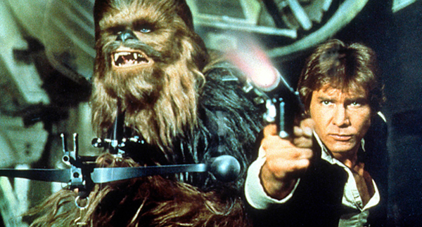 (L_R) Peter Mayhew as Chewbacca and Harrison Ford ©Lucas Film Ltd for Sky Premier publicity
