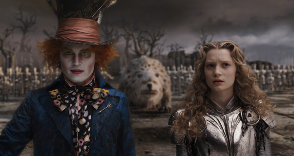 """ALICE IN WONDERLAND"" Film Frame (L-R) Johnny Depp, Bandersnatch, Mia Wasikowska ©Disney Enterprises, Inc. All Rights Reserved."