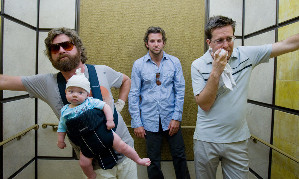 """(L-r) ZACH GALIFIANAKIS as Alan, Baby Tyler, BRADLEY COOPER as Phil and ED HELMS as Stu in Warner Bros. Pictures' and Legendary Pictures' comedy """"The Hangover,"""" a Warner Bros. Pictures release. PHOTOGRAPHS TO BE USED SOLELY FOR ADVERTISING, PROMOTIONAL, PUBLICITY OR REVIEWS OF THIS SPECIFIC MOTION PICTURE AND TO REMAIN THE PROPERTY OF THE STUDIO. NOT FOR SALE OR REDISTRIBUTION."""